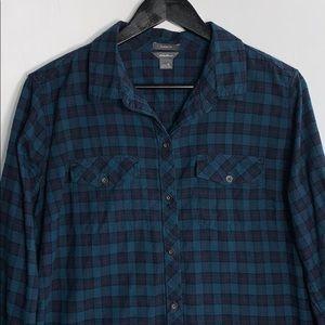 Eddie Bauer Women's Blue Classic Fit Flannel Shirt